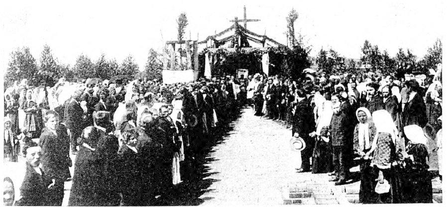 Poświęcenie kamienia węgielnego w Radoryżu Świat. Pismo tygodniowe ilustowane. Nr 34/1908
