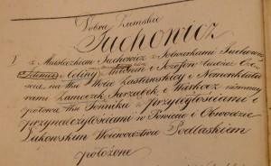 Fragment księgi hipotecznej Dóbr Tuchowicz