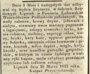 Ogłoszenie o licytacji w dobrach Lipniak z 1832 roku