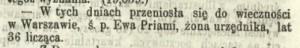 kurjer warszawski 211.1866 ewa priami