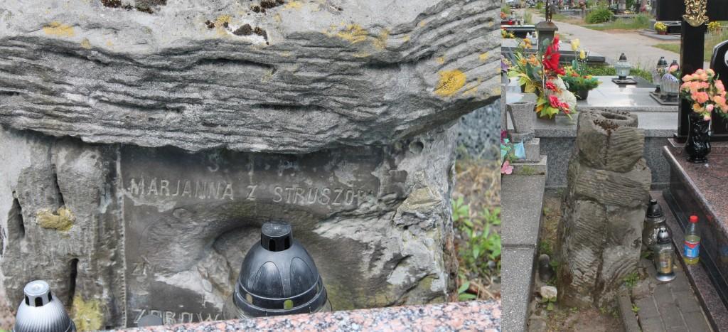 Stary grób wciśnięty między dwa nowe nagrobki - cmentarz w Adamowie