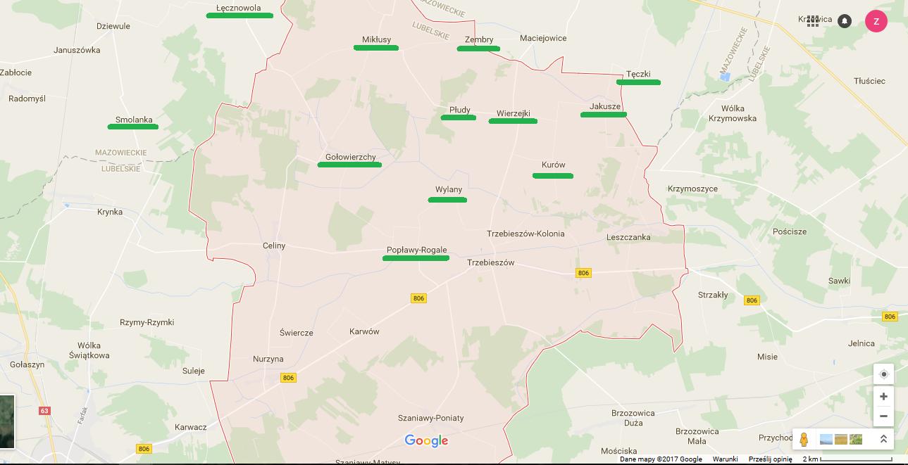 Niektóre wsi koziarskie w parafii Trzebieszów