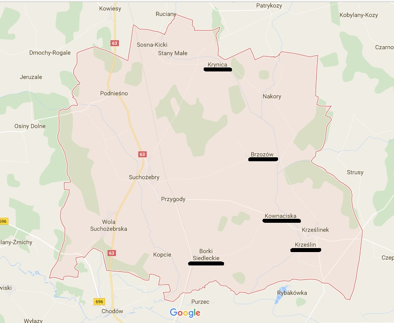 Niektóre wsi Wochów w par. Suchożebry